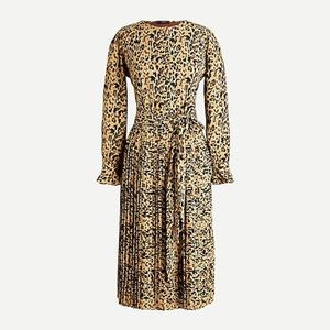 J. CREW PLEATED-LEOPARD DRESS